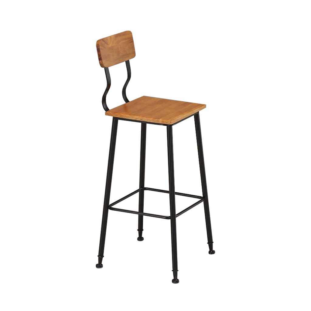 レトロバーチェア クリエイティブバーチェアバーチェアダイニングチェアキッチンパブ朝食ソリッドウッド+メタル背もたれフットレストカウンター背の高い椅子フロントデスク工業用ビンテージスタイル家庭用ラウンジチェア (サイズ : 65CM) B07RSP488J  65CM