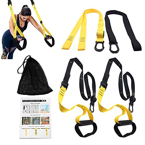 PetSply Upgraded Pro Bodyweight Fitness Resistance Trainer Kit, Full Body Training Straps System with 2 Extension Strap for Home Gym Indoor & Outdoor Travel Workouts Exercise (Best Bodyweight Exercise Equipment)