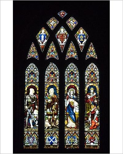 Abbey Stained Glass Print - 10x8 Print of Stained glass windows, Dunfermline Abbey, Dunfermline, Fife, Scotland (3632457)