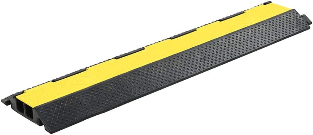 Nishore 4 STK Kabelbr/ücke /Überfahrschutz 2 Kan/äle Gummi Kabelschutzrampe Doppelkanal 101,5 x 24,5 x 4,7 cm Gelb und Schwarz Maximale Nutzlast je 25 Tonnen