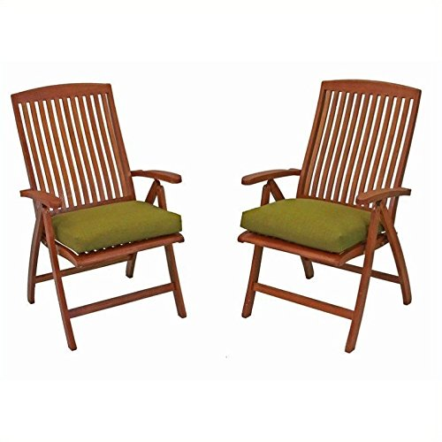 International Caravan TT-PC-041-2CH-IC Furniture Piece Royal Tahiti Outdoor Set of Two 5-Position Folding Arm Chair For Sale