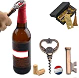Aokbean Multi-Function Vintage Skeleton Key Wine Bottle Opener Waiters Corkscrew the Favored Choice of Sommeliers, Waiters and Bartenders (Copper)