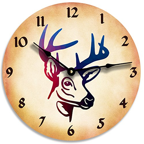 Deer head image clock. Man cave decor. Boys room decor. Hunting clock.