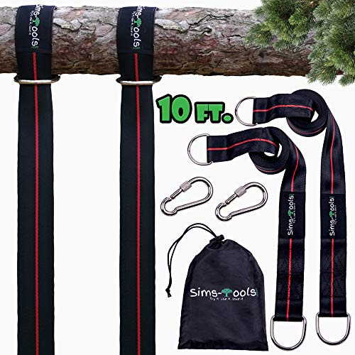 Sims-Tools - Tree Swing Hanging Kit Straps - 2 Extra Long Adjustable Straps 10ft and 2 Strong Carbines - Appropriate for Every Swing Set and Hammock - Outdoor Rope Swing - Quick and Easy Installation