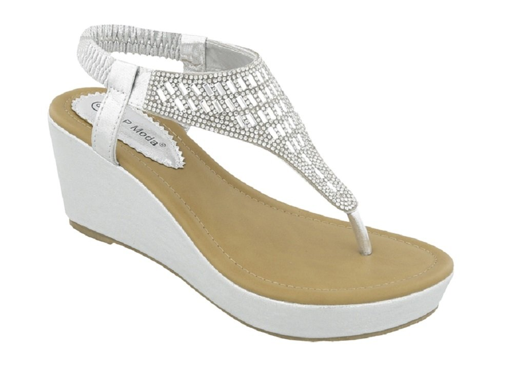 Top Moda OR-26 Women's Wedge Sandals Silver 6.5 B(M) US