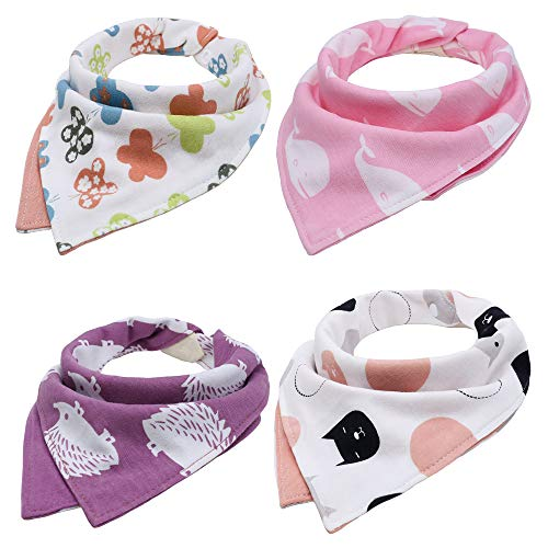 EGOFLEX 4-Pack Premium Baby Bibs Set - Burp Cloths, Teething, Feeding, Drooling Reversible for Babies Boys with Adjustable Snaps ()