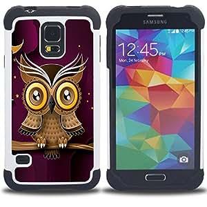 - owl purple smart design minimalist modern/ H??brido 3in1 Deluxe Impreso duro Soft Alto Impacto caja de la armadura Defender - SHIMIN CAO - For Samsung Galaxy S5 I9600 G9009 G9008V