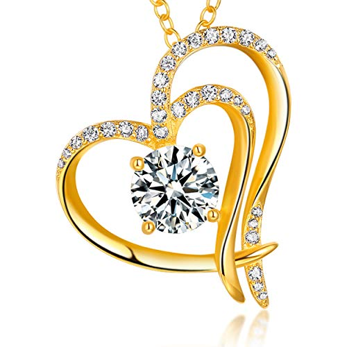Trensygo 14k Gold Plated Heart Necklace for Women Girls 925 Sterling Silver 5a Cubic Zirconia Love Diamond Accent ()