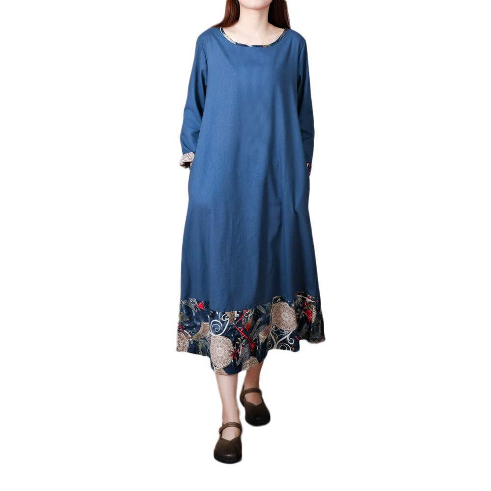 Women Dress,Dainzuy Plus Size Loose Long Sleeves Splicing Cotton A Linen Dress