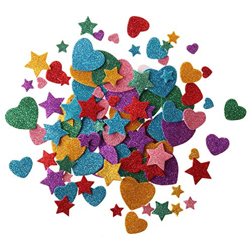 255 pcs Glitter Foam Stickers, Self-Adhesive Stars & Heart Shapes Glitter Sticker Children Kid's Arts Craft Supplies Greeting Cards Home Decoration ()