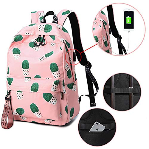 Mochila Impermeable de carga USB Anti Theft mochila Mujeres Cactus Bookbag Lindo Mochila Escolar para Adolescentes Kawaii...