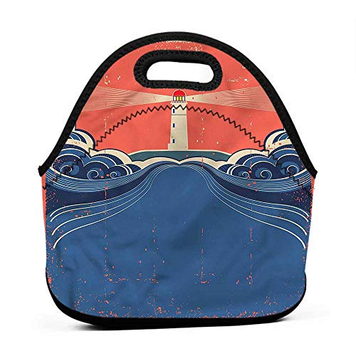 Travel Case Lunchbox with Zip Lighthouse,Lighthouse Waves Sea,glitter lunch bag for girls