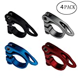Kasteco 4 Pack 31.8MM Aluminium Alloy Cycling Bike Bicycle Quick Release Seatpost Clamp, 4 Colors