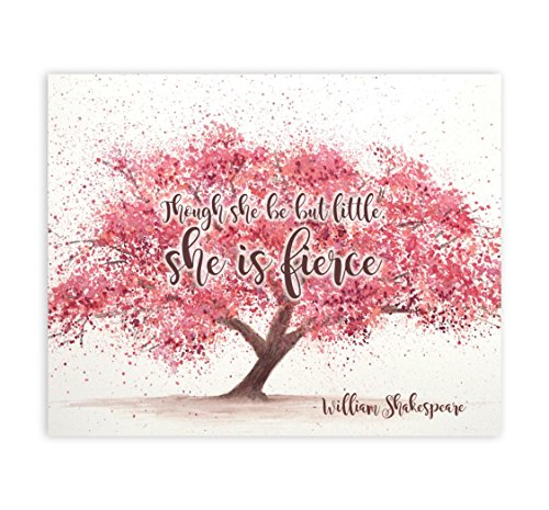 Though She Be But Little She Is Fierce Shakespeare Wall Art, Inspirational Sign, Decorative Sign Baby Room Wall D?cor, Shakespeare Quote And Though She Be But Little She Is Fierce Baby Room