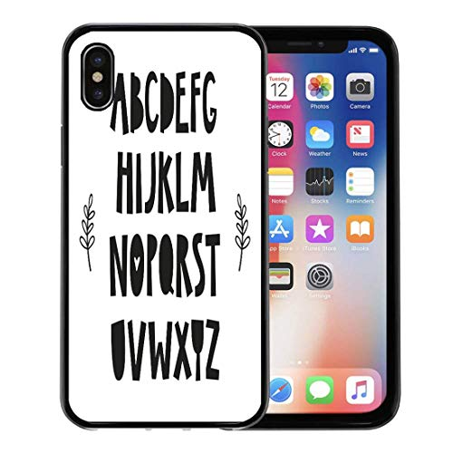 Emvency Phone Case for Apple iPhone Xs Case/iPhone X Case,Black Nordic Alphabet for Baby Room The Wall Kids Soft Rubber Border Decorative, Black