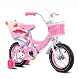 ZCRFY Kids Bike 2-10 Year Old Girls Children's Baby Adjustable Bicycle Enhanced Tyres Female Safe Comfortable For Toddlers Balance Bike Fashion Gift,Pink-18Inches