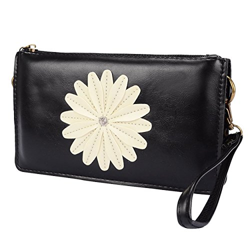Fits Phones To Body Black Cross Clutch 6 8in Strap Wallet Shoulder Daisy w Up Z46qwp0