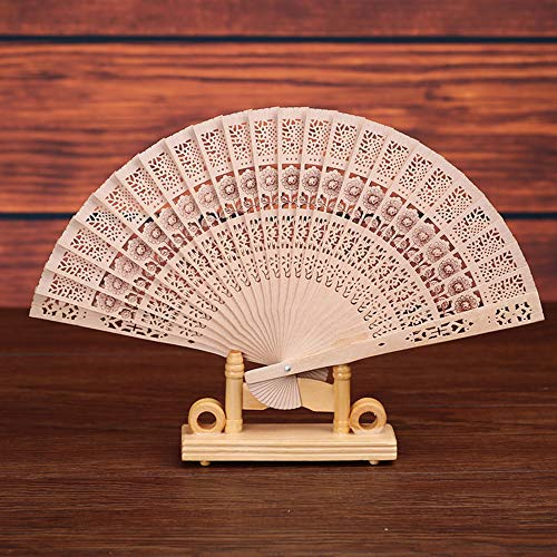 Sun·Light Bamboo Fan Folding Wooden Carved Handheld Hand Fans for Outdoor Wedding Decoration Party Dress Favor-Summer Cooling Accessories