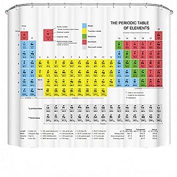 cortina de ducha con la tabla peridica de los elementos de tela resistente - Elementos De La Tabla Periodica Con X