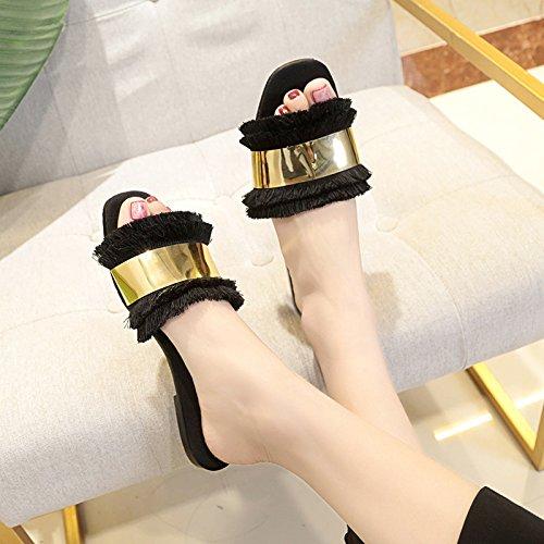 À Tassel Plat Fond WHLShoes La Occasionnels Rice Orteils Mode Chaussons femme white Sauvage Dragons Et Été 8ExfR0xq