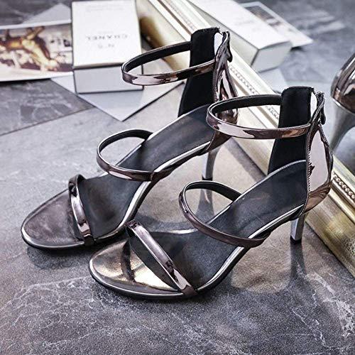 Bride Sandales Glissière Mode Bout Qiusa Et Chaussures La Cheville Pour À Ouvert Femmes 6wEFgqO