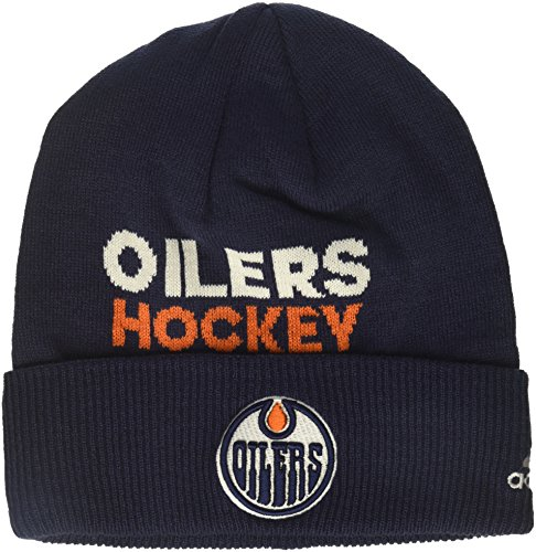 fan products of NHL Edmonton Oilers Adult Men Pro Authentic NHL Locker Room Beanie, One Size, Navy