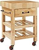 Crosley Furniture Marston Butcher Block Rolling Kitchen Cart - Natural