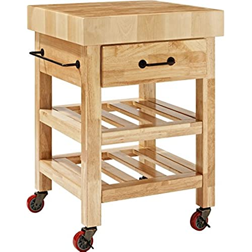 Butcher block tables amazon crosley furniture marston butcher block rolling kitchen cart natural watchthetrailerfo