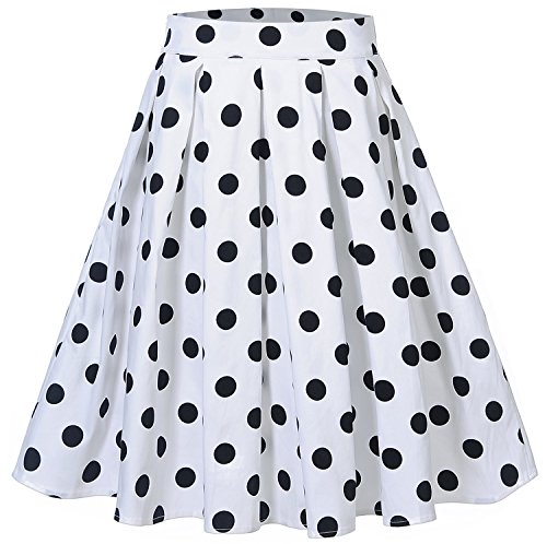 Womens Polka Dot Pleated Skater Knee Length Casual A-Line Skirts C65 (White, L)