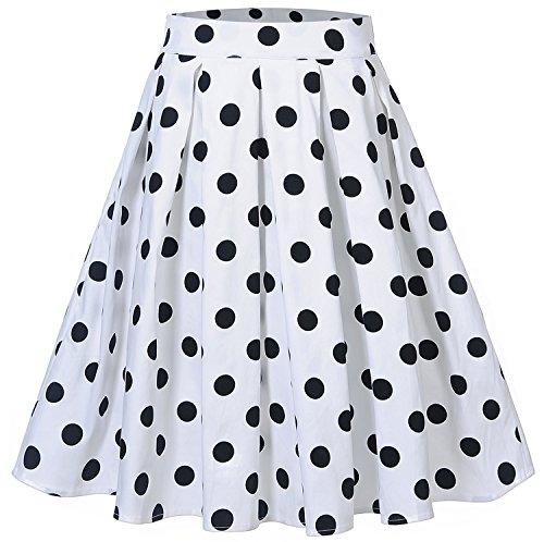 Dot Polka Skirt (Womens Polka Dot Pleated Skater Knee Length Casual A-Line Skirts C65 (White, L))