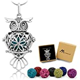 Maromalife Essential Oil Necklace Lava Stone Diffuser Necklace Gift Set with 24 ins Snake Chain and 8 Lava Beads [Owl]