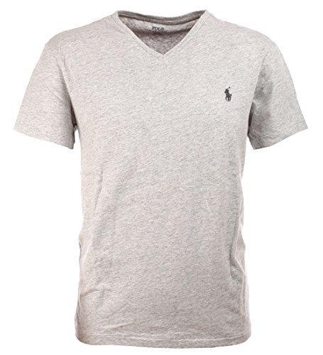 Polo Ralph Lauren Men's Classic Fit V-Neck T-Shirt (Lawrence Grey, - Ralph Xxl Tshirts Lauren