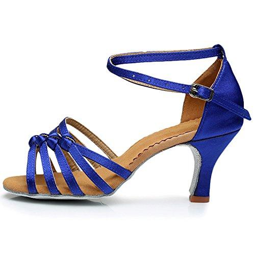 Azbro Mujer Zapato de Baile Fiesta Correa Cruzada Puntera Abierta Azul