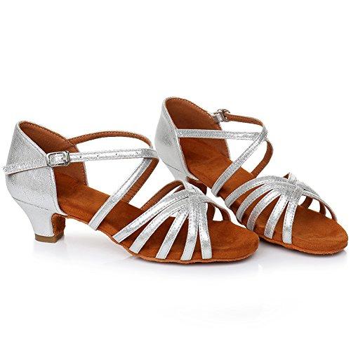XGG Low Women Dance Shoes LP Satin Shoes HROYL Dance Performance Latin Silver Ballroom Salsa Heel nqZOCx1gw0