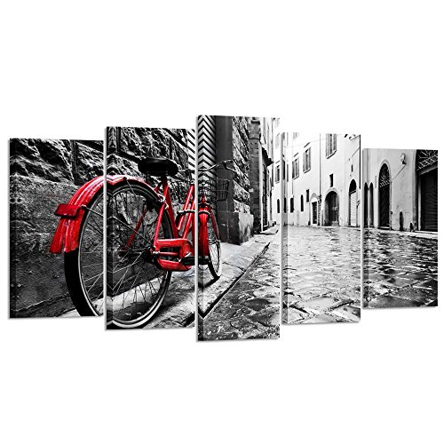 Kreative Arts - 5pcs Black and White with Red Bicyle in London Street Wall Art Modern Giclee Canvas Prints Paintings on Canvas Stretched and Framed for Home Decor (Large Size 60x32inch, Bicycle) ()