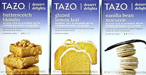 Tazo Lemon (Butterscotch Blondie, Glazed Lemon Loaf, Vanilla Bean Macaron - Tazo Dessert Delights Tea - Variety Pack of 3)