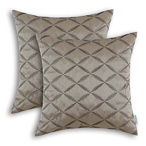 (CaliTime Pack of 2 Cushion Covers Throw Pillow Cases Shells for Home Sofa Couch Diamonds Chain Geometric Embroidered 18 X 18 Inches Taupe)
