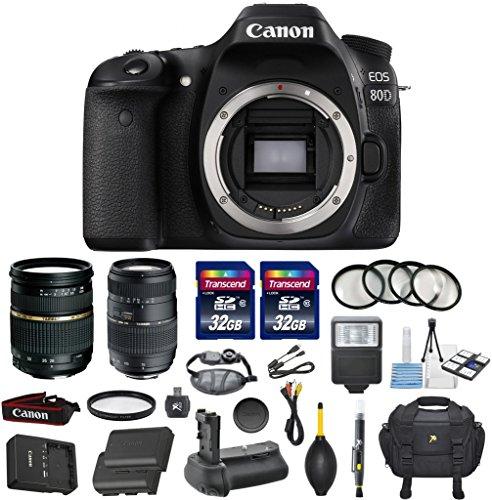 Canon EOS 80D 24.2MP Digital SLR DSLR Camera Bundle with Tamron AF 28-75mm f/2.8 Autofocus Lens & Tamron Auto Focus 70-300mm f/4.0-5.6 Di LD + Accessory Kit (17 items) (Focusing Screen Set)