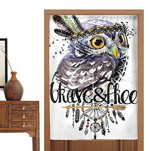 (vanfan Doorway Curtain owl Ameri Chief Headdress war Bonnet Dream Catcher backgroun Doorway Curtain Tapestry Modern33.5 Wx47 L)