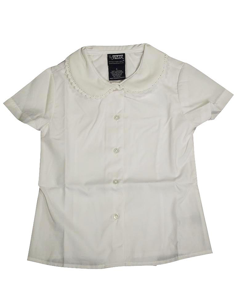 FRENCH TOAST Girls Short Sleeve Peter Pan Blouse with Lace Trim Collar - E9322