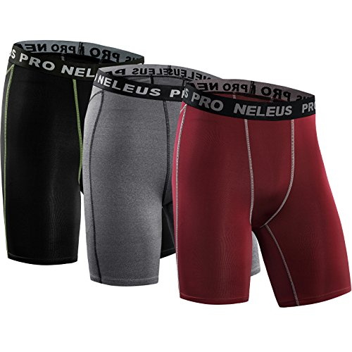 Layer Short Base - Neleus Men's 3 Pack Compression Short,047,Black,Grey,red,US S,EU M