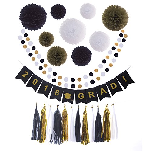 Yahong - 24pcs - Party Tissue Paper Pom Poms,Paper Flower,Tassel,Banner,Perfect for Graduation,Halloween Party,Table,Wall Decoration,9pcs of 8,10,12