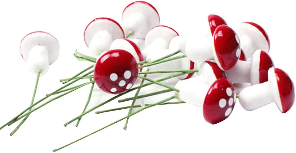 BESTOYARD 10pcs Mini Foam Mushroom for Garden Ornament Flower Pots Bonsai Micro Landscape Decor (Red)