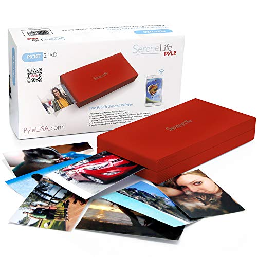ile Photo Printer - Wireless Color Picture Printing from Apple iPhone, iPad or Android Smartphone Camera - Mini Compact Pocket Size Easy for Travel - SereneLife Red ()