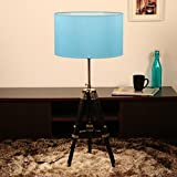 Sheesham Wood   Home Decor Item   Table Tripod Lamp   For Living Room   Bedroom, Hall, Cafe Kitchen (Blue Drum Shape Silk Shade) - 2.83 Foot (Equals to 34 Inches) by Cocovey Homes