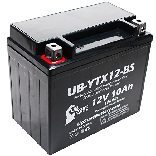 Replacement for 2007 Kawasaki Ninja 650R 650 CC Factory Activated, Maintenance Free, Motorcycle Battery - 12V, 10Ah, UB-YTX12-BS ()