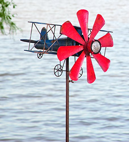 Biplane With Solar Light Metal Wind Spinner Weatherproof Outdoor Kinetic Windmill Sculptures 16 L x 15-1/2 W x 63 (Light Wind Spinner)
