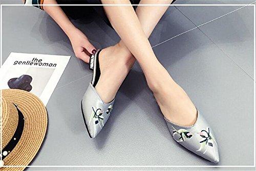 2 Toe Flat Women's Footwear Shoes BeautyOriginal Pointed Mule Grey Pleather Oxw4RP