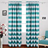 Deconovo Nautical Rod Pocket Blackout Curtains Rod Pocket Drapes for Ktichen 52W X 84L with Wave Stripe Pattern Turquoise 2 Panels