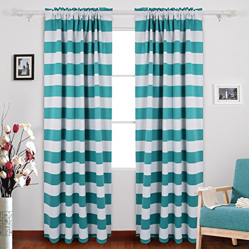 [Deconovo Nautical Thermal Insulated Blackout Curtains Rod Pocket Curtains for Sliding Glass Door 52W X 95L with Wave Stripe Pattern Turquoise 1 Pair] (Stripe Rod Pocket Panel)